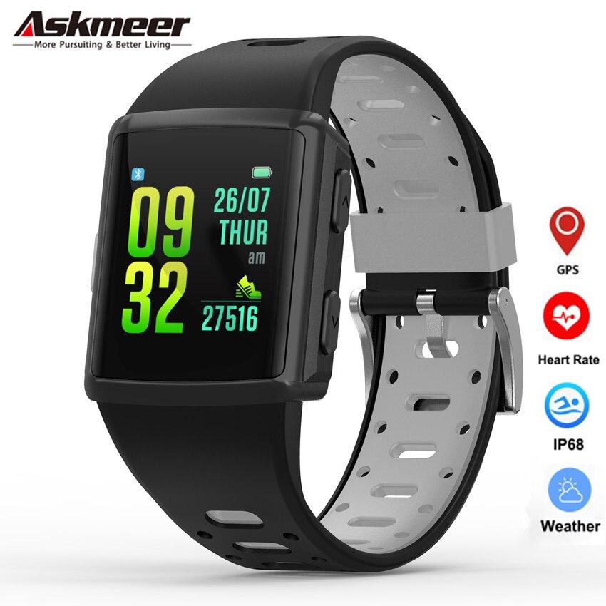 ASKMEER M3 GPS montre intelligente hommes IP68 étanche traqueur de fréquence cardiaque Smartwatch 1.3 pouces écran tactile Multi sport Mode Bracelet