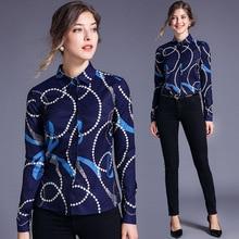 New womens Lapel shirt printed long sleeve