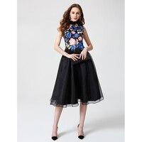 TS Couture линии Fit & Flare Холтер по колено из сатина и тюля коктейльное вечерние/Homecoming платье с аппликациями складки