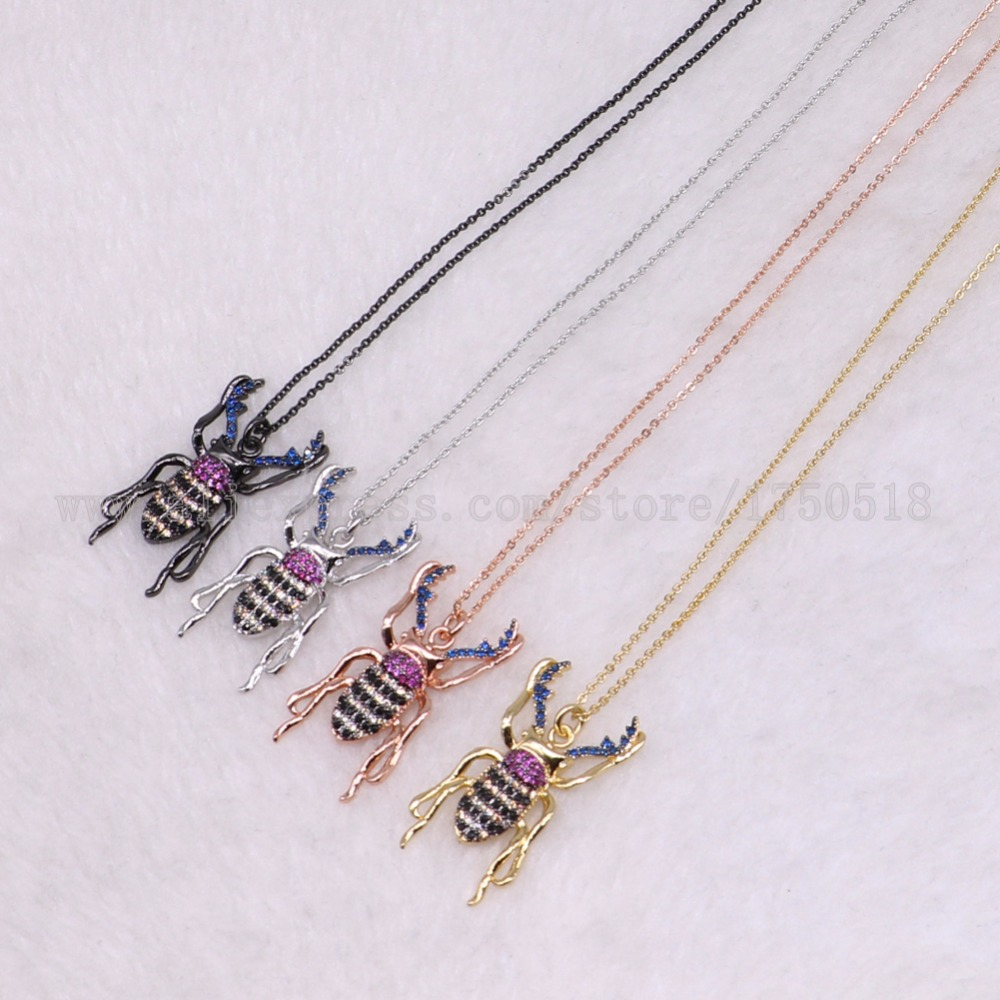 5 strands bugs necklace Insects bee pest pendants necklace small size jewelry 18 mix color necklace pets beads 3041