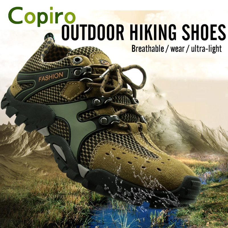 Copiro Spring Summer Breathable Men Hiking Shoes Outdoor Climbing Non - Slip Mesh Trekking Sports Sneakers Large Size 39-46 new handmade hiking shoes for men climbing boots breathable and non slip cowhide outdoor sneakers free shipping