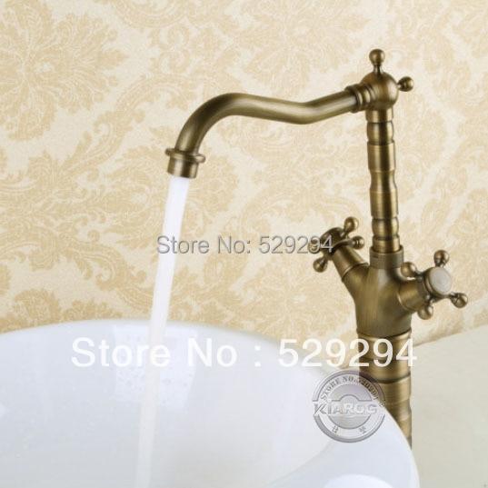 Bathroom faucet double handle antique brass bathroom sink - Long bathroom sink with two faucets ...