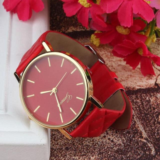 Unisex Casual Geneva Checkers Faux Leather Quartz Analog Wrist Watch female watc