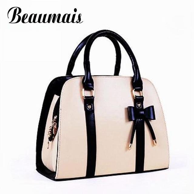 Beaumais 2017 Hot Sale Bow Shell Women Leather Handbag Fashion Women Tote Bag Ladies 7 Color Women Shoulder Crossbody Bags HB029