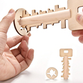 Wooden Key Unlock Puzzle Intelligence Educational Kids Children Teaser Toy