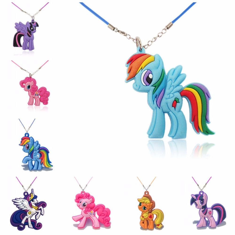 2PCS PVC Cartoon Little Horse Choker Necklace Pendant Cute Anime Figure Rope Chains Necklace 51cm Charms Jewelry for Kid Gift