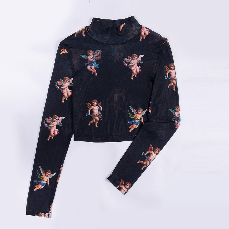 New Fashion Women See-through Sheer Mesh Fishnet T-Shirt Fashion Top Cute Angel Printed Female Summer Mesh Tops 10