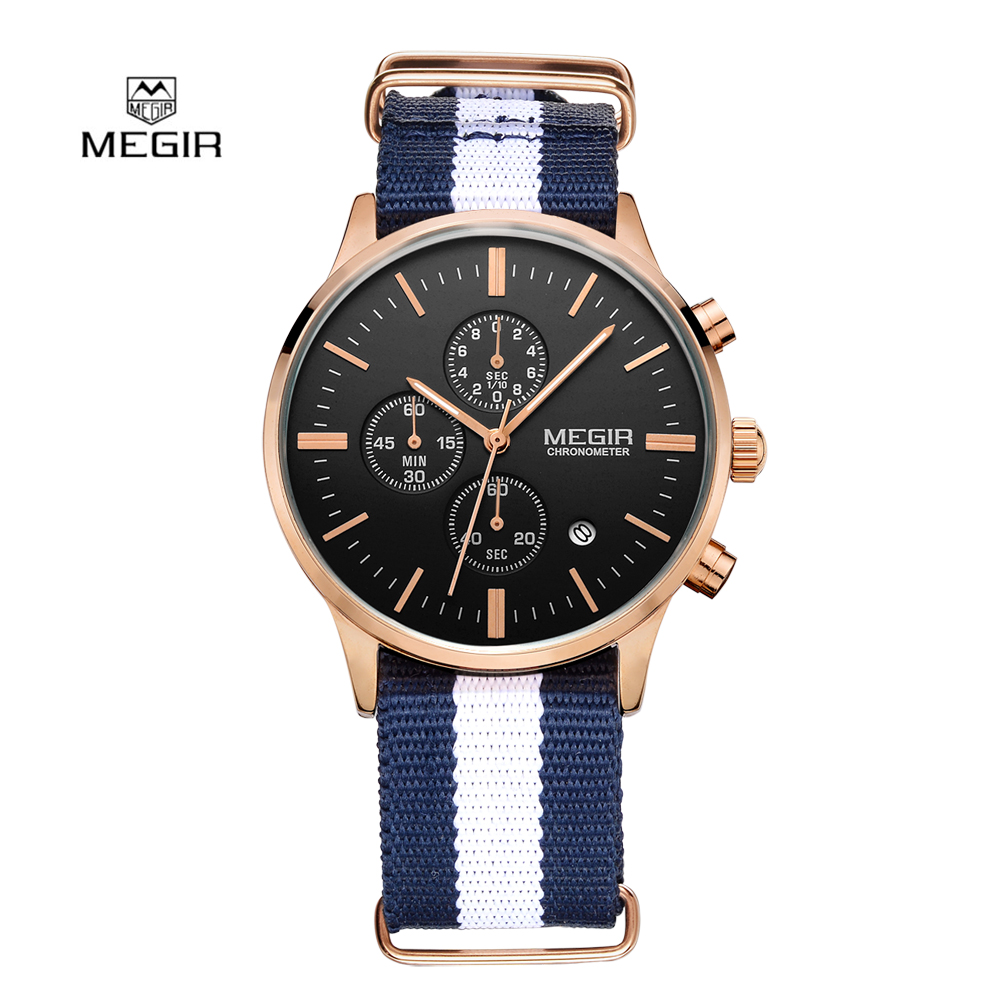 Fashion Simple stylish Top Luxury brand MEGIR Watches Men Chronograph Canvas band Quartz-watch thin Dial Clock Man 2011 Relogio classic simple star women watch men top famous luxury brand quartz watch leather student watches for loves relogio feminino