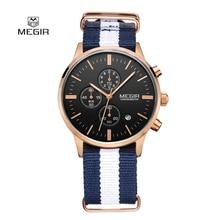 Мода Простой стильный Топ Люксовый бренд MEGIR Часы Мужчины Хронограф Холст ремешок Кварцевые часы тонкий Наберите Часы Человек 2011 Relogio