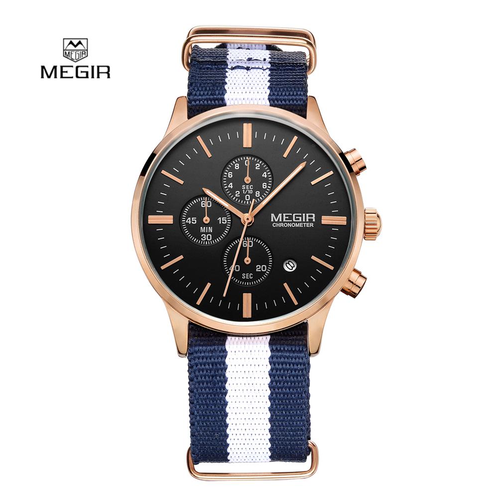 Prix pour Mode Simple élégant Top marque De Luxe MEGIR Montres Hommes Chronographe Toile bande Quartz-montre mince Cadran Horloge Homme 2011 Relogio