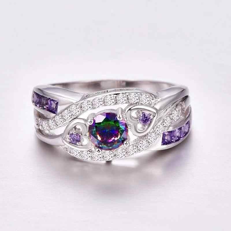 Livraison directe mode femmes bijoux dormir de swarovski en forme de coeur coupe Design CZ argent 925 taille de bague 6 7 8 9