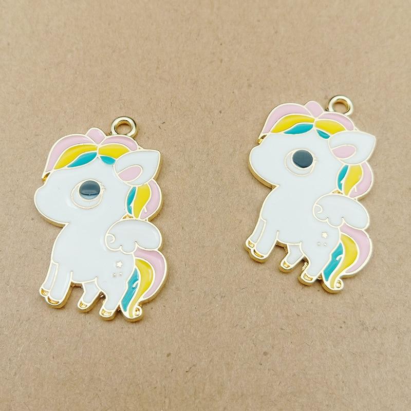Unicorn Charm Pendant Jewelry Making-Fashion 10pcs for Earring 24x36mm