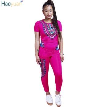 HAOYUAN 2 dwuczęściowy zestaw kobiety panie afryki druku stroje Plus rozmiar z krótkim rękawem Casual Bodycon Dashiki topy + garsonka z długimi spodniami