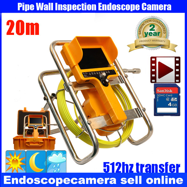 20m Fiber Glass 512HzTransmitter Waterproof Pipe Sewer Inspection Camera Color 1/3 CCD600TVL  12Leds Endoscope Snake Camera 20m cable fiber glass 7 tft lcd waterproof pipe sewer inspection camera ccd600tvl with meter accounter endoscope snake camera