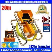 20m Fiber Glass 512HzTransmitter Waterproof Pipe Sewer Inspection Camera Color 1/3 CCD600TVL  12Leds Endoscope Snake Camera
