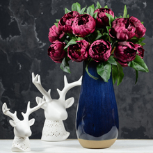 Rinlong 2pcs Burgundy Artificial Peonies 22 Real Touch Vintage Silk Peony Wedding Flowers Stems for DIY Floral Arrangements Hom