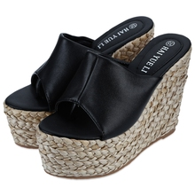 Fashion Summer Trifle Flip Flops Shoes for Ladies 2016 Platform Knitted Open Toe High Heel Sandals Women Ultrahigh Wedge Sandals