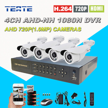 Security 4CH Full 1080N CCTV System AHD-NH 4 channel DVR with 1200TVL AHD 720P Outdoor surveillance Camera Kit