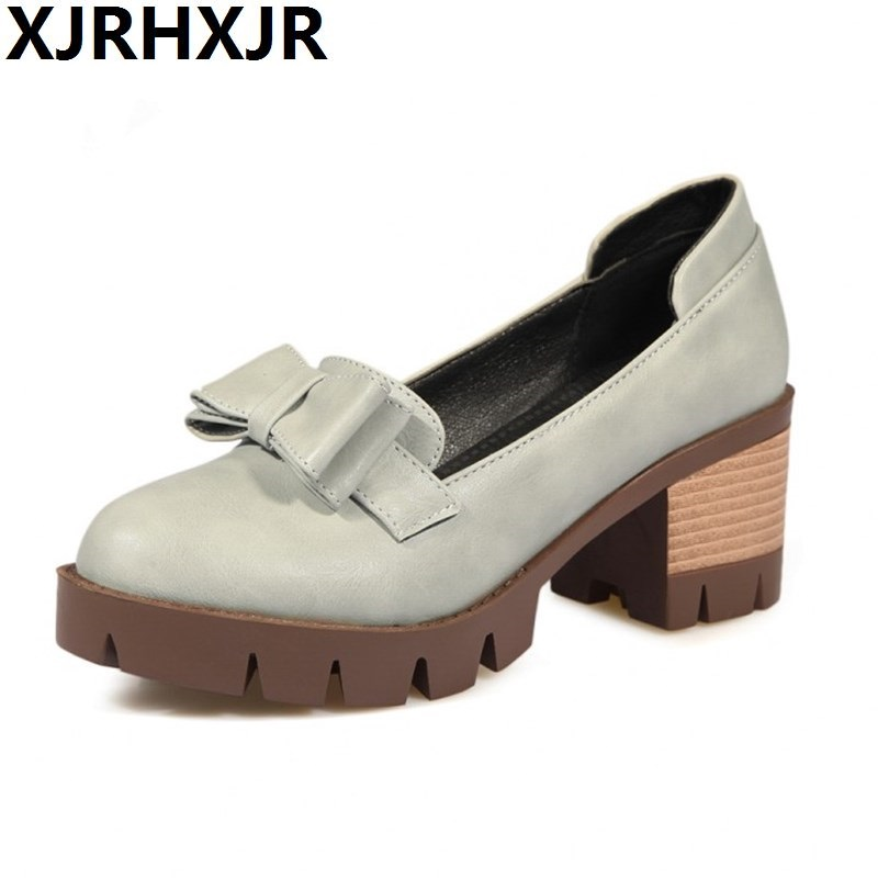British Style Women Casual Shoes Thick High Heels Round Toe Shoes Ladies Pumps Comfort Leather Shoes 2017 shoes women med heels tassel slip on women pumps solid round toe high quality loafers preppy style lady casual shoes 17