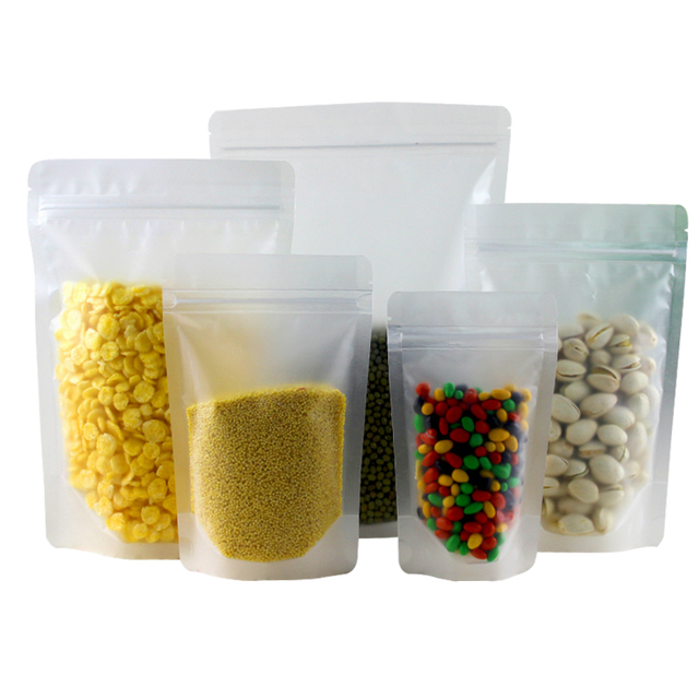 Fosco Claro Plástico Zip Lock Saco de Embalagem Stand Up Pouch Resselável Doypack Zipper Café Alimentos Nozes Embalagem Saco De Armazenamento