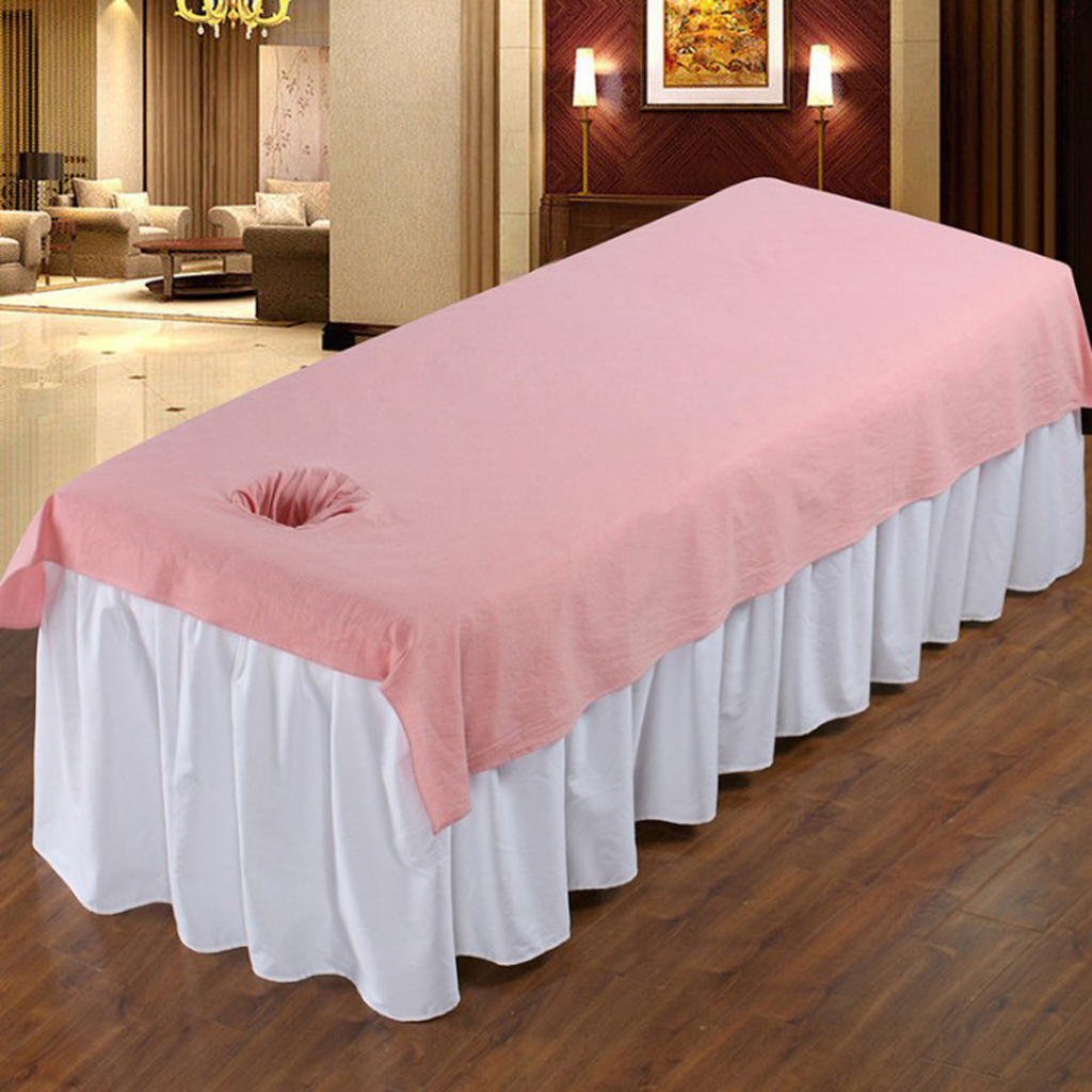 2 Pieces Washable Cotton Massage Table Sheet, Body SPA Massage Bed Fitted Pad Cover with Head Hole - Pink2 Pieces Washable Cotton Massage Table Sheet, Body SPA Massage Bed Fitted Pad Cover with Head Hole - Pink