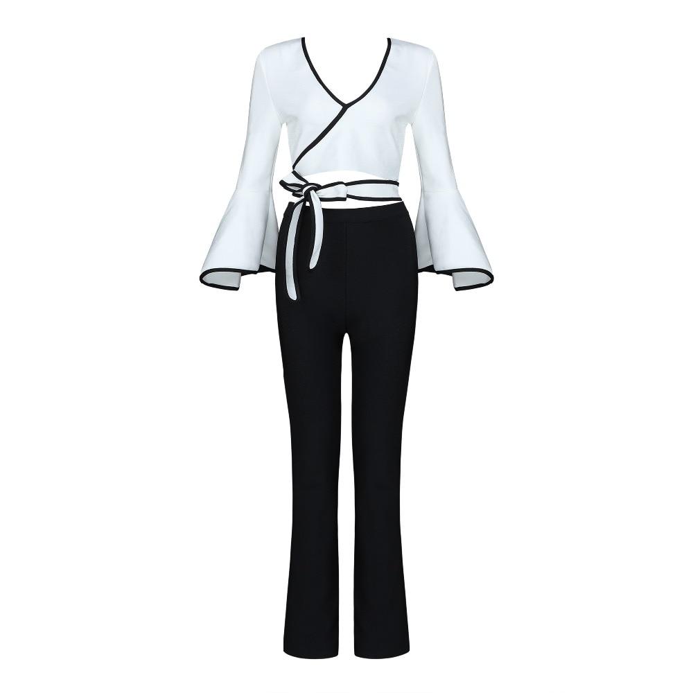 Longues Longueur V Noir Black Ensemble Chemises Femmes Manches White Profonde Pleine Cou Et Pantalon Bandage Blanc À xqTHRR1