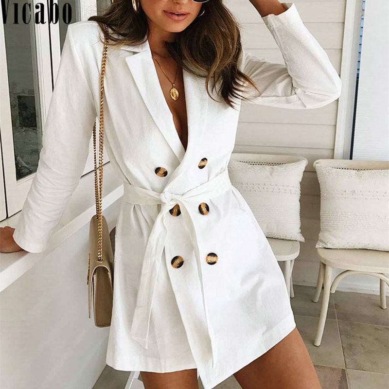 Vicabo Autumn Winter   Trench   Coat for Women Double-Breasted Slim Solid Coat with Belt White Long   Trench   Female Outerwear