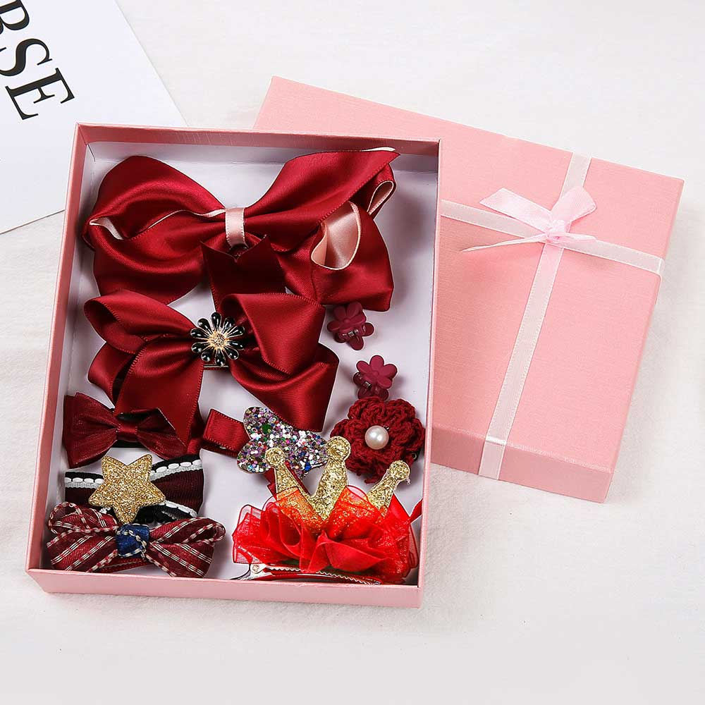10pcs/set Kids Gift Bows Flower Barrettes Hair Accessories Lovely Hairpins   Headwear   Princess Crown Hair Clips For Girls With Box