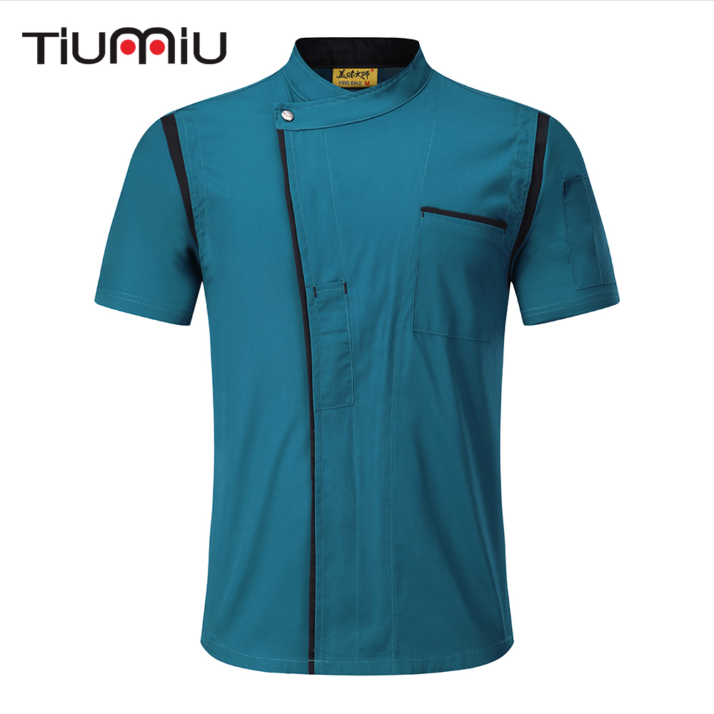 4 Colors Wholesale Unisex Kitchen Bakery Chef Uniform Short Sleeve Mesh Breathable Double Breasted Workwear Chef Jackets & Apron