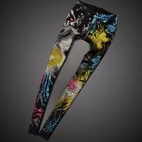 Sexy Slim Rhinestones Floral Print Black Color Painted Pattern Skinny Jeans Elastic Women Low Waist Denim Pencil Pants