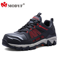 MODYF Men Steel Toe Work Safety Shoes Breathable Casual Spring Outdoor Boots Puncture Proof Footwear Slip