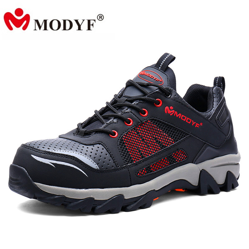 MODYF Men Steel Toe Work Safety Shoes Breathable Casual Spring Outdoor Boots Puncture Proof Footwear Slip Resistant