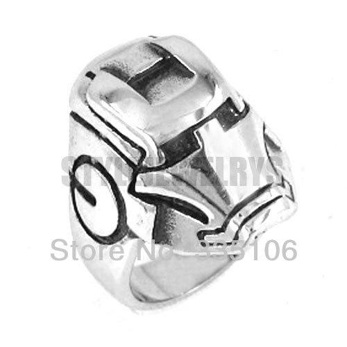 a6b37169046d El hombre de hierro casco anillo de acero inoxidable joyas de plata Motores  biker hombres anillo swr0131s