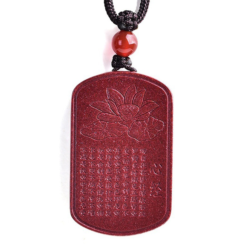 Drop Shipping Natural Cinnabar Lotus Buddhist Scriptures Pendant Necklace Lucky Amulet Jade Necklace For Woman Men Fine Jewelry