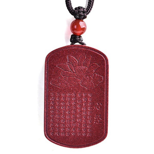 Image 1 - Drop Shipping Natural Cinnabar Lotus Buddhist Scriptures Pendant Necklace Lucky Amulet Jade Necklace For Woman Men Fine Jewelry