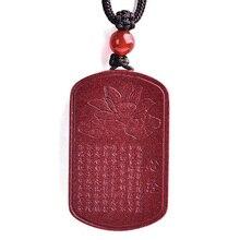 Drop Verzending Natuurlijke Cinnaber Lotus Boeddhistische Geschriften Hanger Ketting Lucky Amulet Jade Ketting Voor Vrouw Mannen Fijne Sieraden