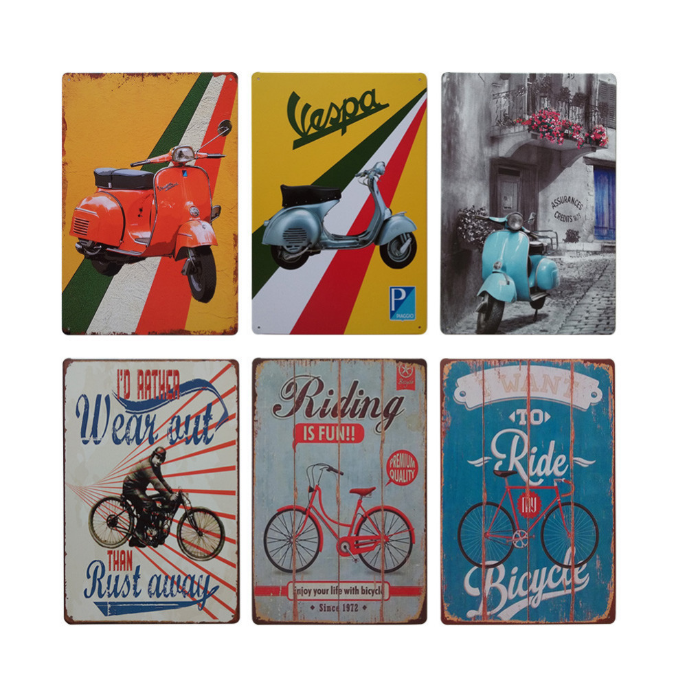 motorcycle bicycle retro style iron sign painting decorative signs plaque vintage metal tin sign. Black Bedroom Furniture Sets. Home Design Ideas
