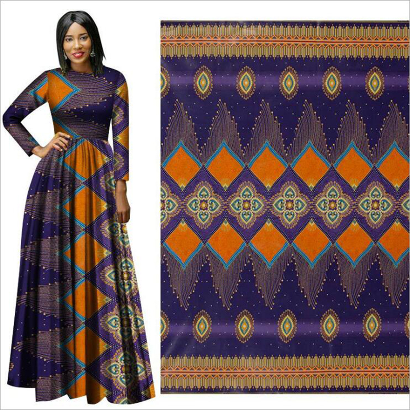Me-dusa 2019 new purple diamond African Print Wax Fabric 100% cotton Hollandais Wax Dress Suit cloth 6yards/pcs High quility(China)