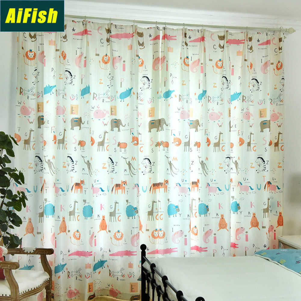 Lovely Animals Printed Semi Blackout Pink Curtains for Children Kids Bedroom Nursery Sheer Window Curtain Tulle Panels WP2133