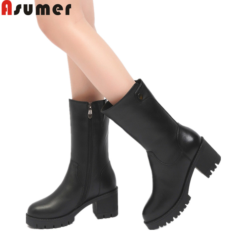 ASUMER big size fashion winter keep warm snow boots round toe zip wool inside genuine leather boots square heel mid calf boots memunia fashion women boots round toe ladies genuine leather boots square heel zipper cow leather wool keep warm mid calf boots