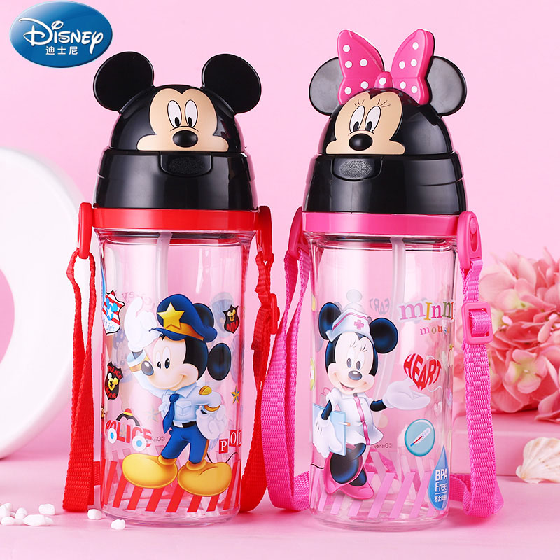 Disney Baby Feeding Cup with straw Lovely mickey minnie cover Portable no spill cup Tritan Bottle