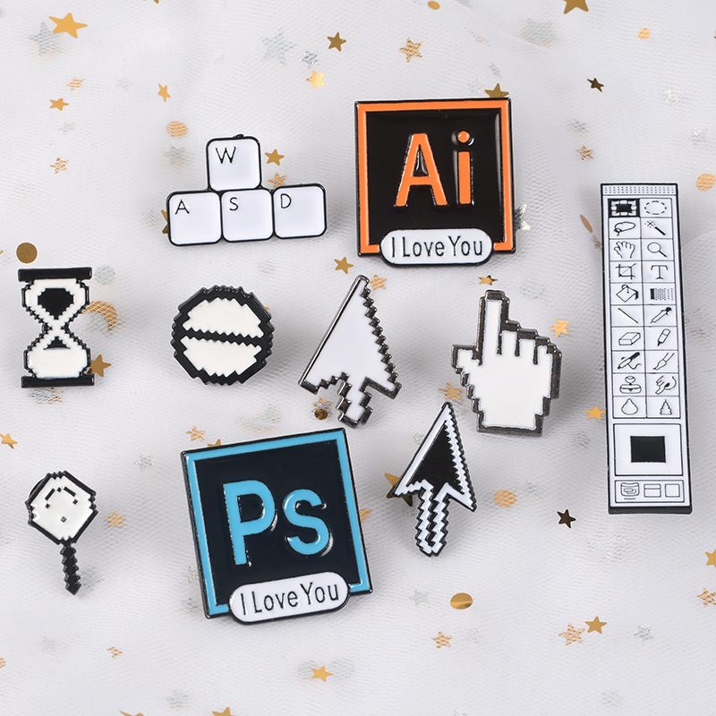 Computer Window Icon Enamel Brooches Pins
