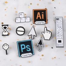 Классические пиксельные курсоры PS AI Photoshop панель инструментов песочные часы компьютерное окно значок мышь указатель стрелка руки эмалевые броши, булавки