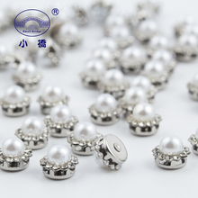 White Pearl Glass Rhinestones For Sewing Flower Shape Flatback With Claw Silver Bottom Diy Clothes S140