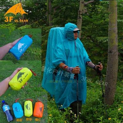 3F UL Gear Hiking Poncho 3 in 1 Raincoat Ultralight Tarp Rain Jacket 2