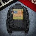 Impresión de la bandera americana calidad charretera boutique MA-1 chaqueta de bombardero de la Fuerza Aérea Primavera y Otoño chaqueta de la motocicleta de los hombres M-XXXL H1325