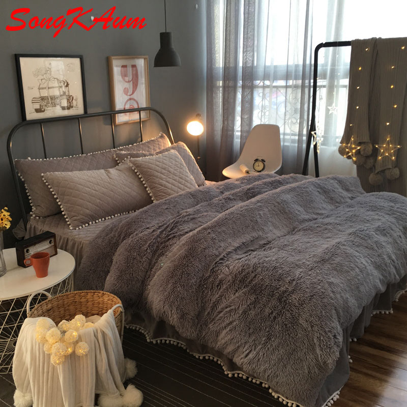 european royal mink velvet bedding sets super warm solf winter crystal velvet duvet cover bedclothes bed - Royal Velvet Sheets