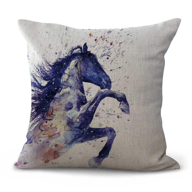 2017 Новый чехол для подушки с рисунком лошади, хлопковый льняной чехол для подушки, автомобильный диван, домашний декоративный чехол для подушки с изображением лошади, чехол для подушки, kussenhoes