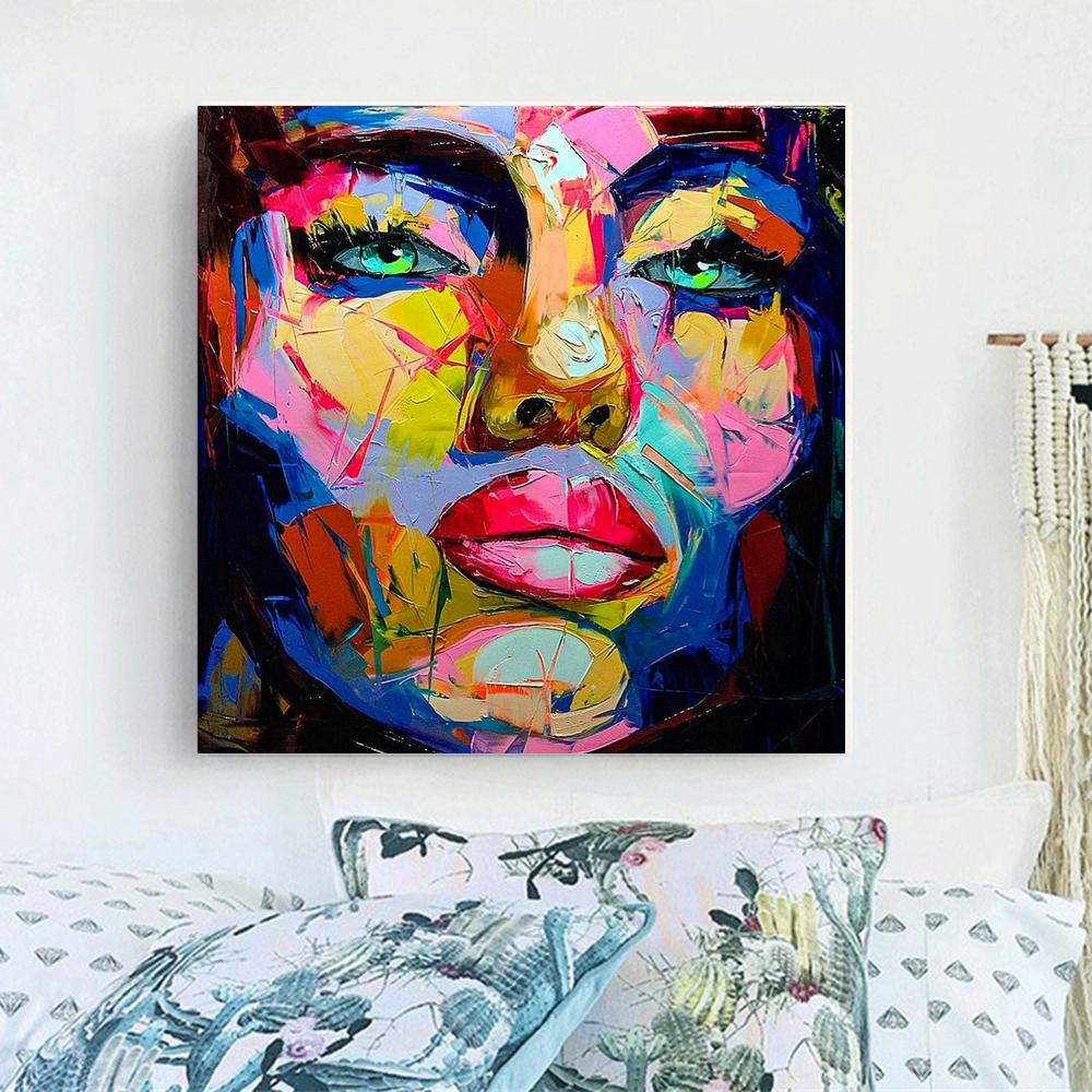 Us 63 6 47 Off Green Eyes Woman Artwork Abstract Wall Art Canvas Painting For Dining Room Home Wall Decor Color Face Knife Painting Drop Ship In