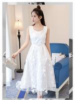 2018 neuen stil sommer kleidung spitze chiffon-sleeveless frauen weiß kleider machen jemand schlanker aussehen Süße strandkleid